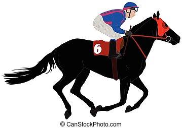 cheval, jockey, illustration, course, 6, équitation