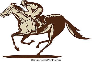 cheval, jockey, isolé, fond, blanc, courses, côté, affiché
