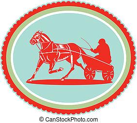 cheval, jockey, rosette, harnais, retro, courses