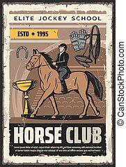 cheval, jockey, school., affiche, sport, élite, cavalier