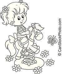cheval, jouet, balançoire cour, petit, girl