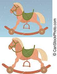 cheval, jouet, balancer, retro, fond