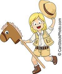 cheval, jouet, explorateur, illustration, girl, gosse