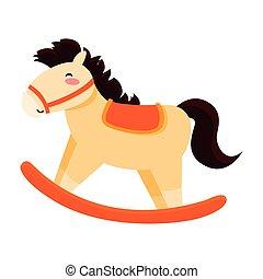 cheval, jouet, fond, bébé, balancer, blanc