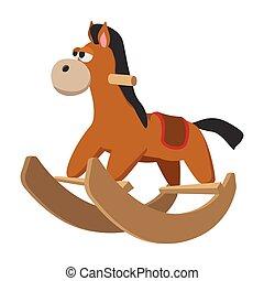cheval, jouet, roues, icône, dessin animé