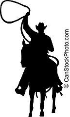 cheval, lasso, silhouette, cow-boy