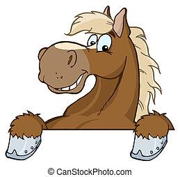 cheval, mascotte, dessin animé, tête