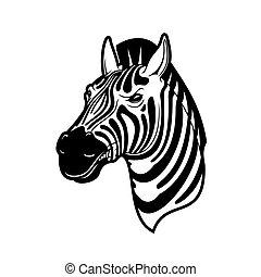 cheval, noir, zebra, animal, africaine, blanc, tête