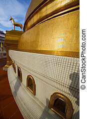 cheval, or, résumé, métal, croix, bangkok, thaïlande