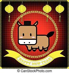 cheval, pendre, arrière-plan grille, année, nouveau, heureux, rouges, lanterne