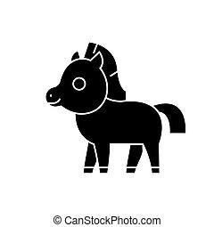 cheval, poulain, mignon, icône, vecteur, illustration, noir, signe, sur, isolé, fond