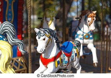 cheval, retro, carrousel