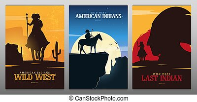 cheval sauvage, ouest américain, indigène, paysage., banners., ensemble, indien