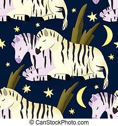 cheval, seamless, zebra, pattern.