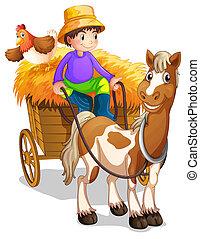 cheval, sien, bois, charrette, paysan, équitation, poulet
