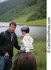 cheval, sien, cavalcade, comment, enfant, enseignement, homme