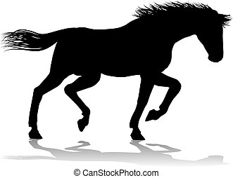 cheval, silhouette, animal