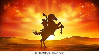 cheval, silhouette, cow-boy, coucher soleil, fond, équitation