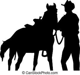 cheval, silhouette, cow-boy