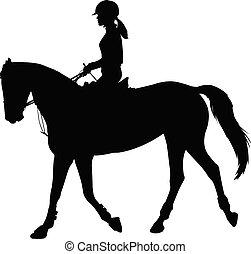 cheval, silhouette, jeune, élevé, élégant, femme, équitation, qualité