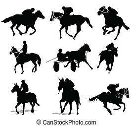 cheval, silhouettes., cavaliers