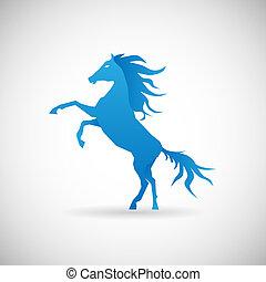 cheval, strengthl, puissance, symbole, illustration, vecteur, conception, gabarit, icône