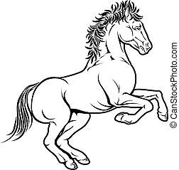 cheval, stylisé, illustration