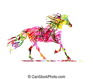 cheval, symbole, ornement, croquis, année, floral, 2014,...
