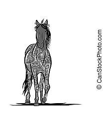 cheval, symbole, ornement, croquis, année, floral, 2014, ton, design.