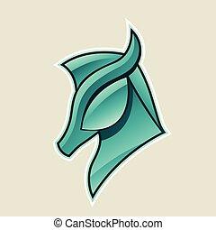 cheval, tête, illustration, vecteur, vert, lustré, icône, persan