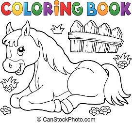 cheval, topic, coloration, 1, livre
