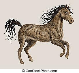 cheval, vecteur, artistique, dessin