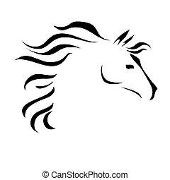 cheval, vecteur, dessin