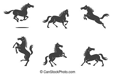 cheval, vecteur, ensemble