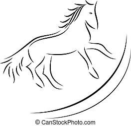 cheval, vecteur, image, fond, blanc