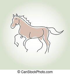cheval, vecteur, ligne, style, minimal