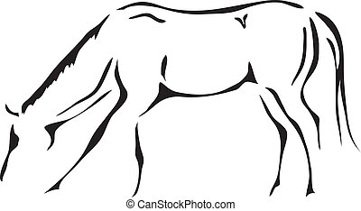 cheval, vecteur, noir, blanc, grands traits