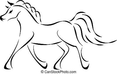 cheval, vecteur, signe
