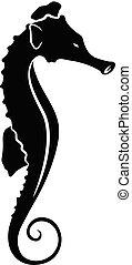 cheval, vecteur, silhouette, mer