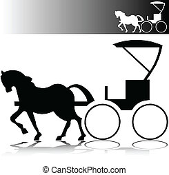 cheval, vecteur, silhouettes, buggy