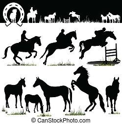 cheval, vecteur, -, silhouettes
