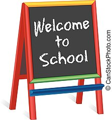 chevalet, école, childrens, accueil