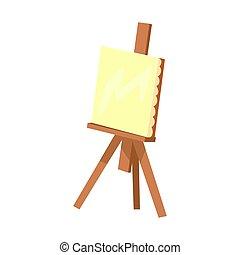 chevalet, canevas., coloré, bois, illustration, équipement, vecteur, artistique, dessin animé