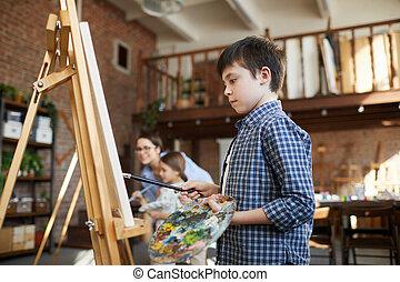 chevalet, peinture, écolier