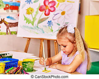 chevalet, peinture, enfant