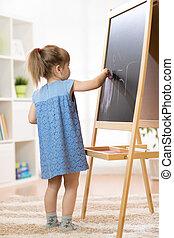 chevalet, peinture, school., enfant