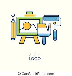chevalet, roller., style, concept, art, coloré, résumé, illustration, original, vecteur, graphisme, brosse, logo, ligne, hobby., dessin, crayon, studio.