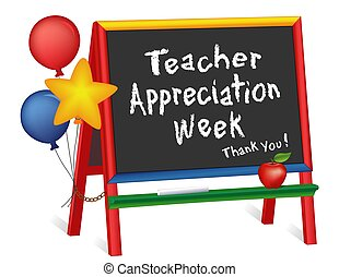 chevalet, semaine, prof, appréciation, tableau, étoiles, ballons, enfants
