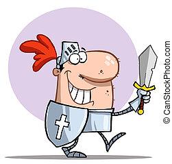 chevalier, à, épée, et, bouclier