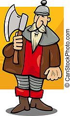 chevalier, à, hache, dessin animé, illustration